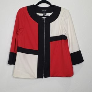 Focus 2000 red white black zip up jacket sweater